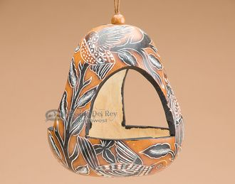 Hand Carved Natural Gourd Bird Feeder - Andean Indian (2)