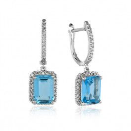 Bijuteria teilor: Cercei acvamarine si diamante