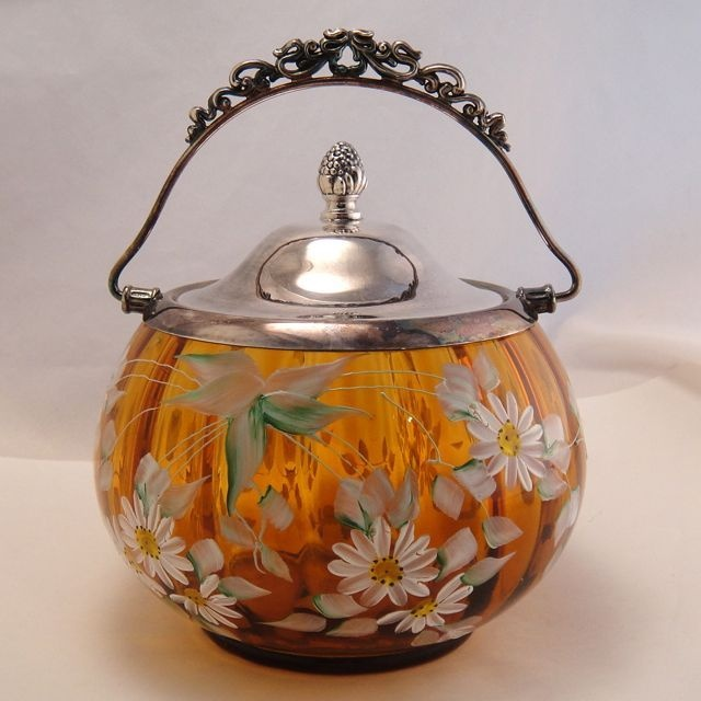 Stunning Antique Amber Enameled Glass Cookie Biscuit Jar Barrel