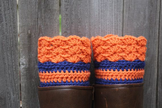 Chicago Bears Football  inspired boot cuffs can be custom made to your color combination and size on Etsy, $15.00