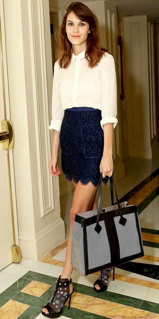 Alexa Chung. White georgette blouse and lace-print navy skirt. Why not throw in aspirational shoes and tote!