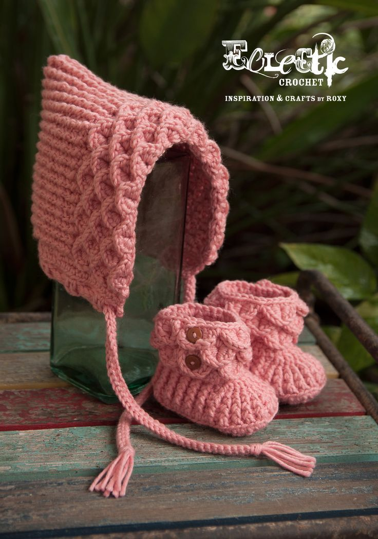 Free Baby Hat and Bootie Crochet Patterns | I love knitting baby things because it's so quick to finish a project. For more easy and free baby knitting ideas, head to http://www.sewinlove.com.au/category/knitting/