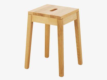 TATO NATURAL Wood Oak low stool - HabitatUK
