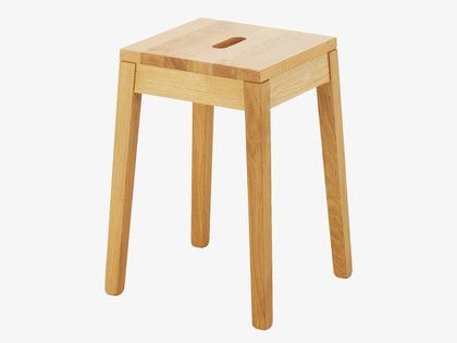 TATO NATURAL Wood Oak low stool - HabitatUK