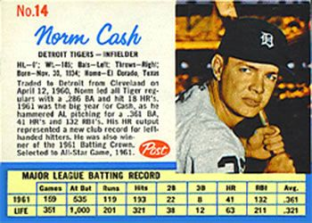 post cereal baseball cards  norm cash | The Trading Card Database | Norm Cash Gallery