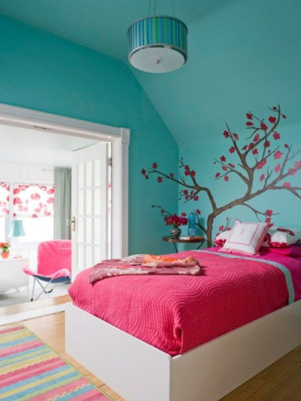 Bedroom  Amusing Tree Stickerwall  Pink Quilt On White Bed And Pendant Lamp  For Teenage Girls Room  How To Decorating A Teenage Girls Room In Creative  Way. The 25  best Turquoise girls bedrooms ideas on Pinterest