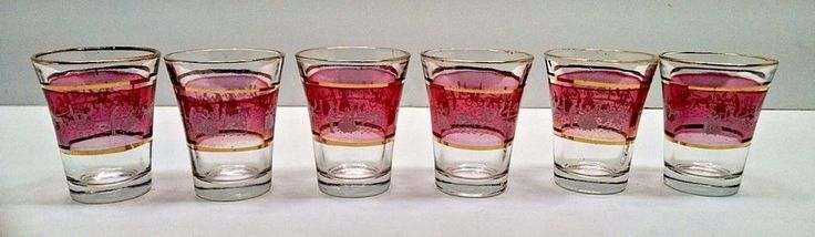 Set of 6 Vintage Cranberry Victorian Shot Glasses with Gold Embelishment and Win