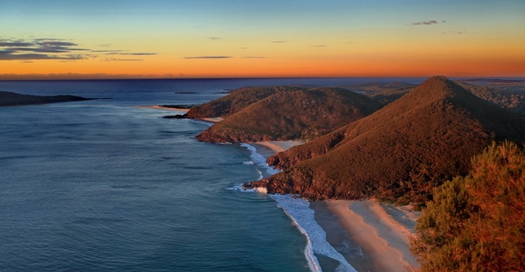 Looking down from Tomaree headland onto Zenith and Wreck Beaches.