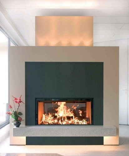contemporary double-sided fireplace (wood-burning closed hearth , retractable door) LUNA 1150V GOLD+ m-design