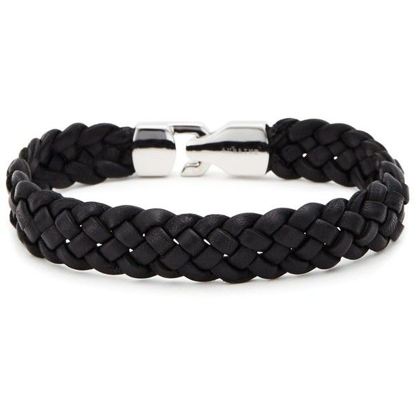 Aubaine Caps Leather Bracelet (€42) ❤ liked on Polyvore featuring men's fashion, men's jewelry, men's bracelets, black, mens leather braided bracelets, mens woven bracelets, mens leather bracelets and mens woven leather bracelets