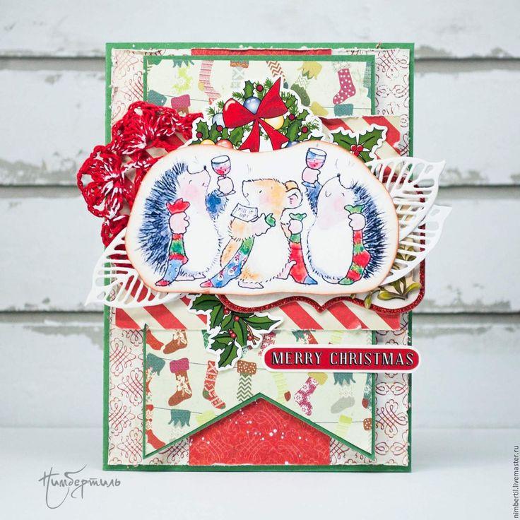 Купить Открытка Уютное Рождество - зеленый, красный, ежик, мышка, рождество, рождественский подарок