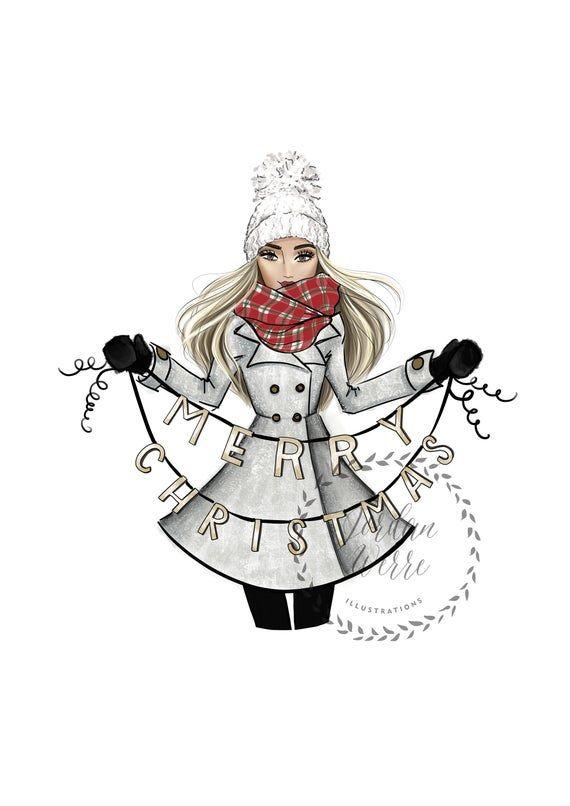 Merry Christmas Blonde Christmas Wall Art Fashion Etsy Winter Wall Art Fashion Art Illustration Christmas Fashion