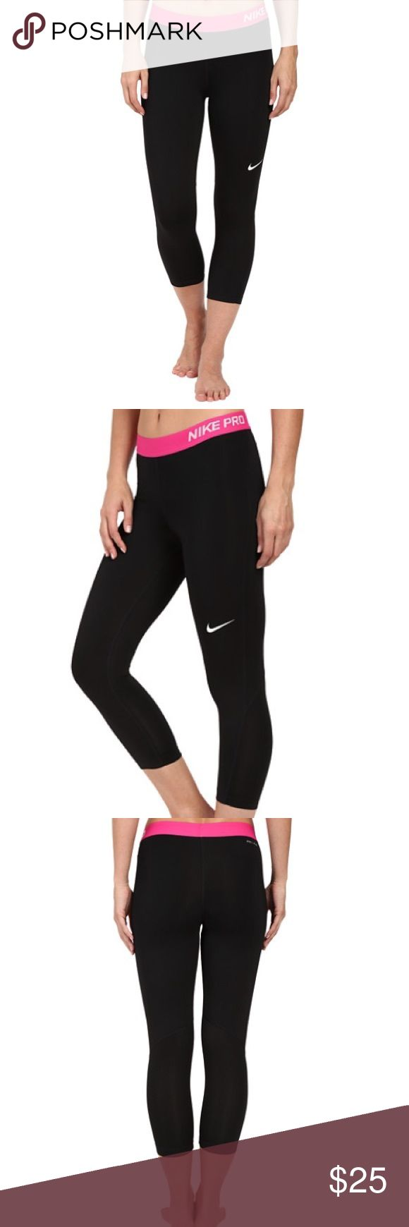 ✔️Nike Pro Cool Training Capris Brand new with tags. Turn up the heat on an otherwise everyday workout with the intense Pro Cool Capri. Compression fit keeps everything tight to the body for maximum support during high-performance activity. Dri-FIT™ high-performance fabric wicks perspiration away from the body and towards the surface where it can evaporate. Elastic waist provides a comfortable fit. Inseam gusset allows a wider range of movement. Mesh panels ventilate and cool. Flat seams…