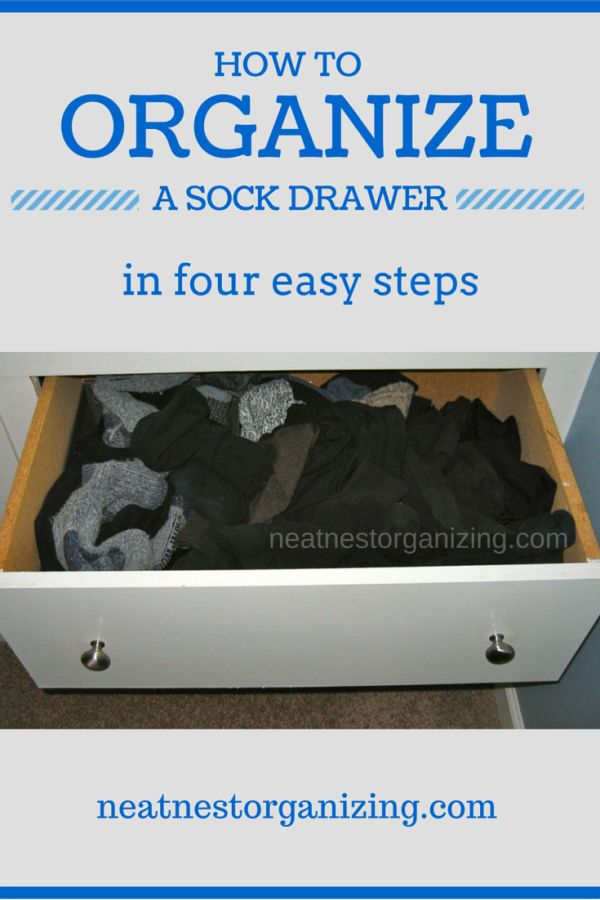 How to Organize a Sock Drawer in 4 Easy Steps - Neat Nest Organizing - Never underestimate the value of a few well organized dresser drawers!