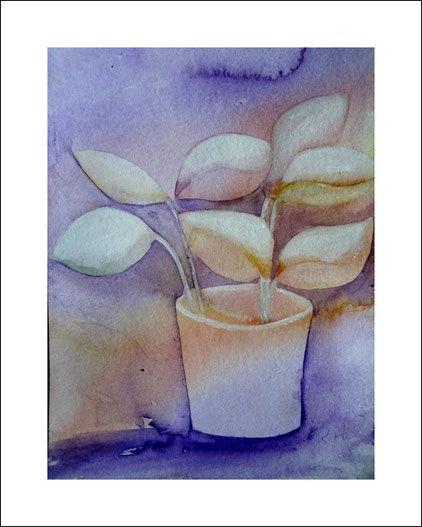 Aquarelle Stillleben. Negativmalerei. malen, kunst, bild, Blumentopf, blau, Ocker, kaufen