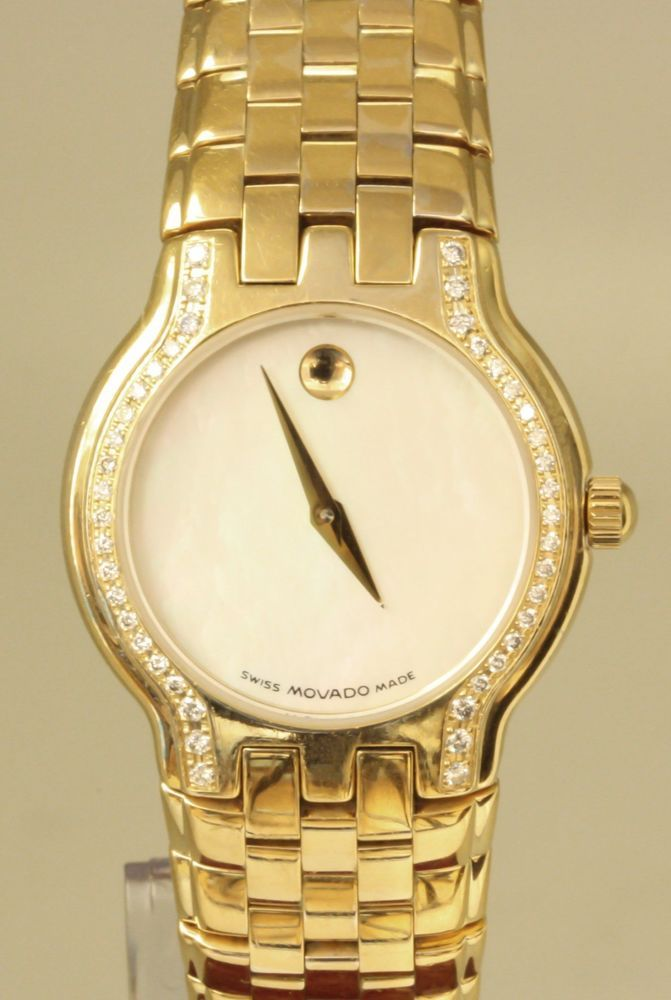 Movado Museum Diamond Bezel Ladies Quartz Watch Model 87 E4 1852 #Movado #DressFormal