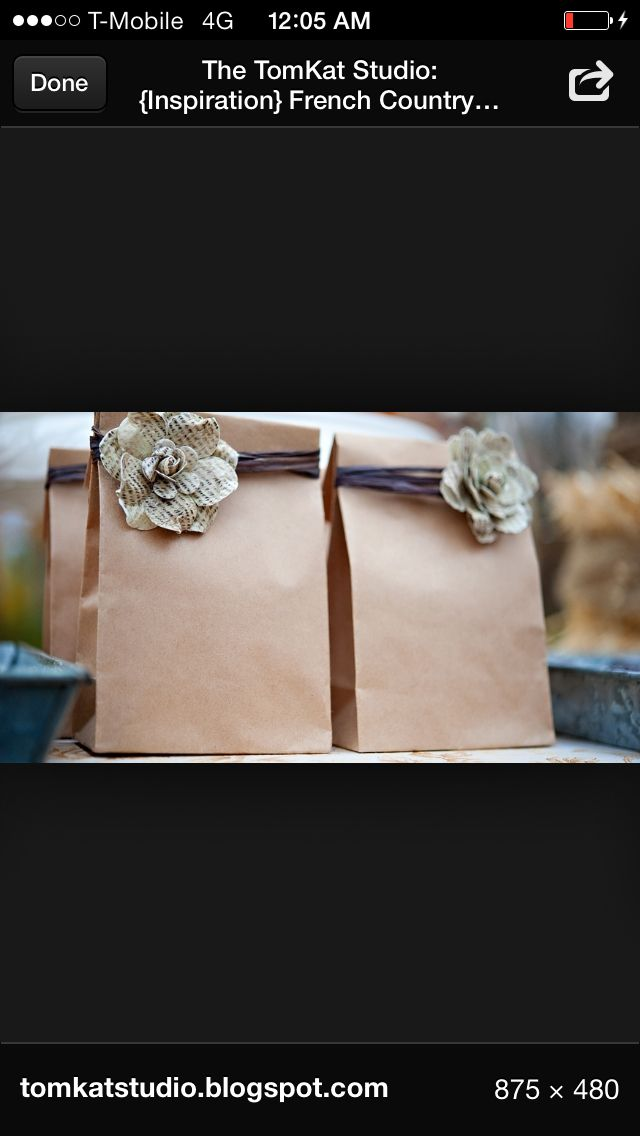 Shabby chic dessert brown paper bags