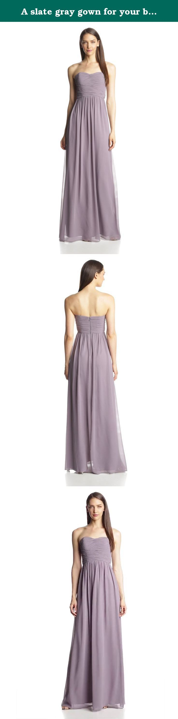 A slate gray gown for your bridesmaids. Subtle ruching highlights this flowy strapless sweetheart chiffon dress with a floor length skirt.