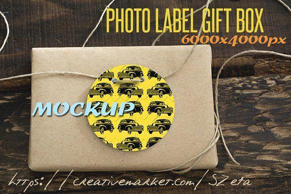 Photo Mockup, label and gift box rec by SZeta on @creativemarket