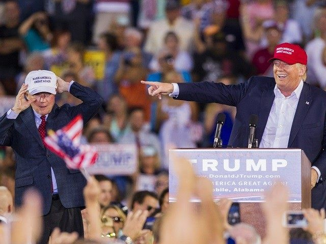 Donald Trump Defends Sen. Jeff Sessions: National Review 'Nasty People,' 'Wrong on so Many Different Things'.  Donald Trump on August 21, 2015 in Mobile, Alabama.