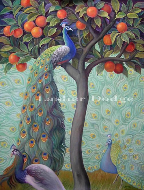 Peacock In An Orange Tree  -  Lashed Dodge: