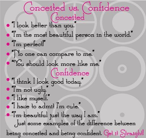 The person who calls a confident person conceited has no confidence!