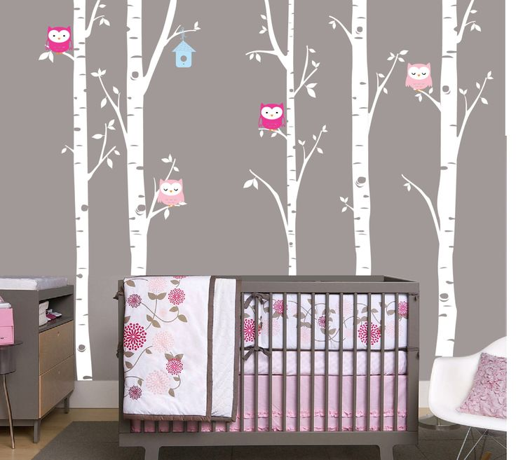 Birch Decal with Owls, set of 5 birch trees, Owl Decal, Birch with Owls, Nursery Birch Tree, woodland by OwlHills on Etsy https://www.etsy.com/listing/209796708/birch-decal-with-owls-set-of-5-birch