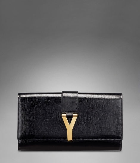 YSL Chyc Clutch in Black Textured Patent Leather at http://www.ysl ...