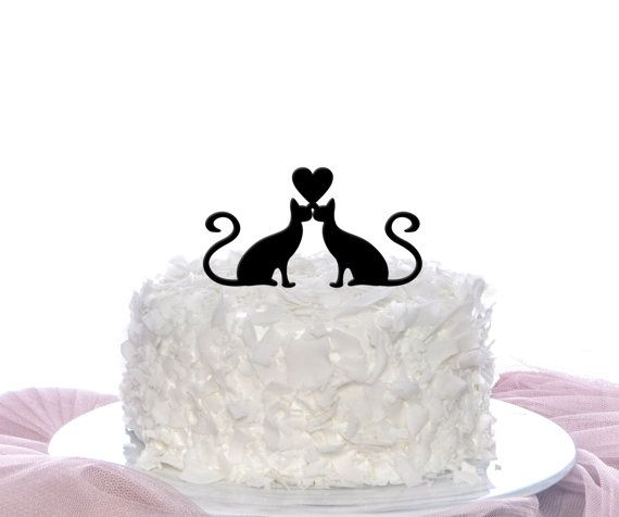Couple Cats Cake Topper Wedding Cake Topper by TheFinishingTouchCo