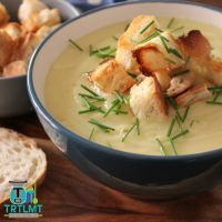 Potato & Leek Soup with Garlic Croutons – The Road to Loving My Thermo Mixer