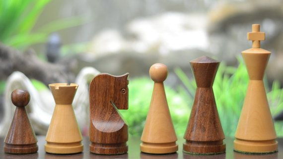 Indian Wooden Weighted Turned Cone Chess Set Shesham Wood.SKU: M0037