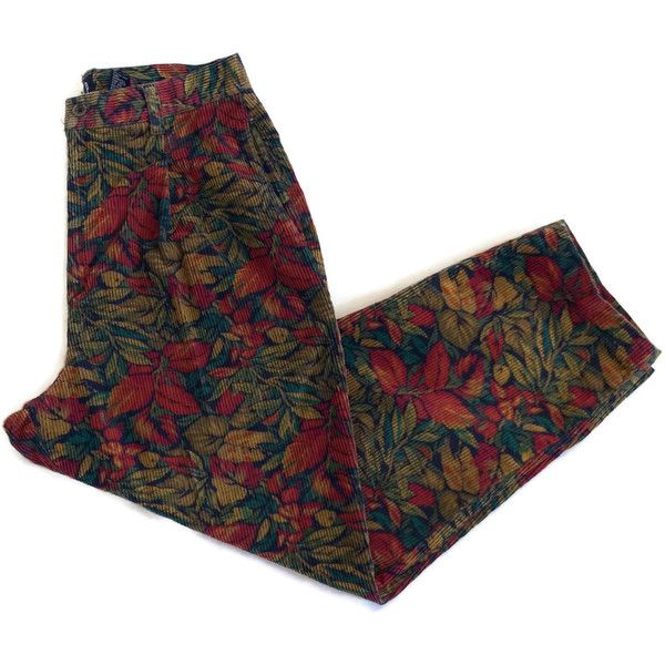 90s Floral Printed Corduroy Pants ($32) ❤ liked on Polyvore featuring pants, capris, bottoms, vintage pants, high-waist trousers, high waisted baggy pants, corduroy pants and high-waisted pants