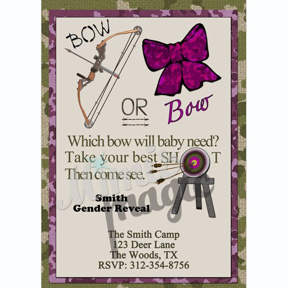 Which Bow Will Baby Need, Hunting Gender Reveal, Printable Invitation on Etsy, $15.00