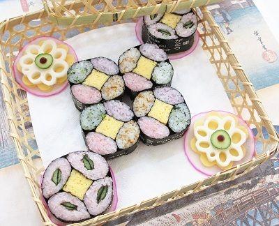 【古典基本柄】「七宝」の飾り巻き寿司 Decorative Sushi-roll