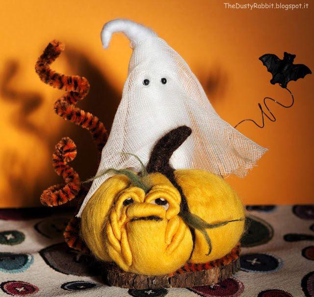 Needle Felted Pumpkin Ghost Halloween TheDustyRabbit
