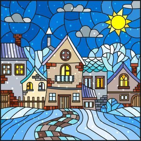 Скачать - Иллюстрации в стиле витражного стекла, городской пейзаж, покрытые снегом крыши и деревья против неба, солнце, облака и снег — стоковая иллюстрация #162843846