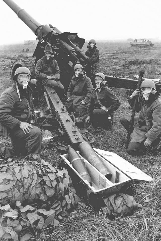 Hungarian People`s Army artillery crew on training.