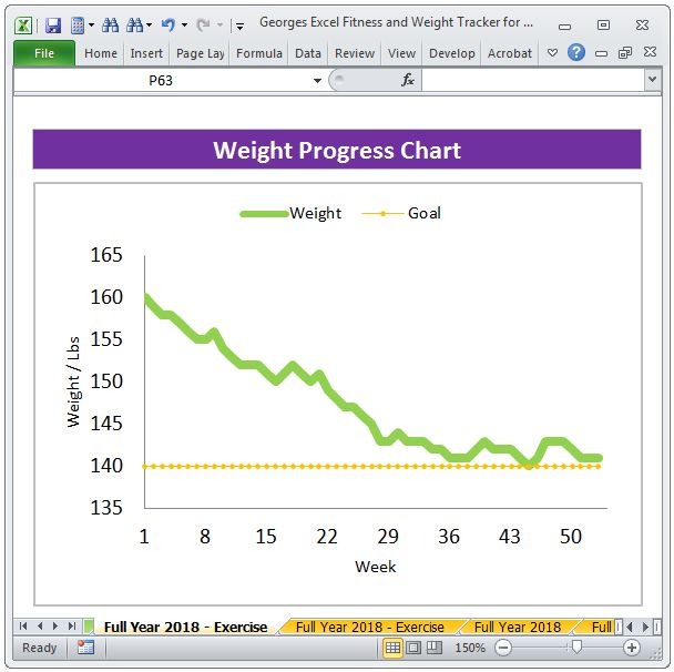 Best Fitness Planner And Weight Tracker  Excel Spreadsheet