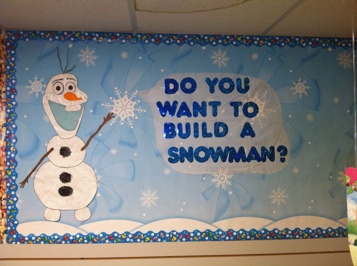 Olaf bulletin board—Do you want to build a snowman?   Free handed this little guy myself :) made with paper, glitter, paint, and tissue paper.