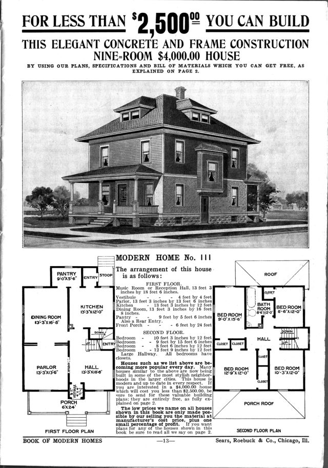 Foursquare House Plans - Is Your Old House From a Catalog?: Sears Catalog Modern Home No. 111, The Chelsea