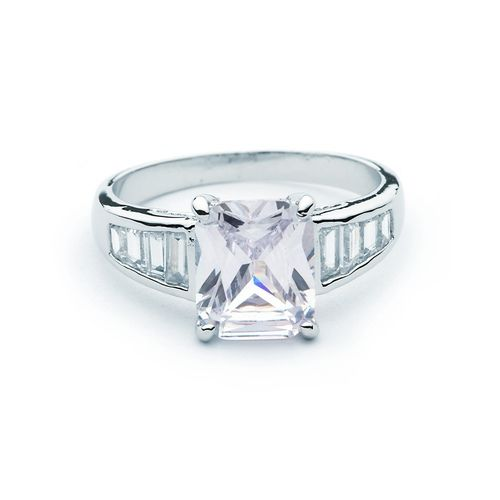 Clear CZ w/ Square-cut Channel Set Ring