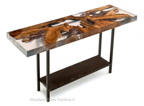 Contemporary Wood Sofa Table with Resin