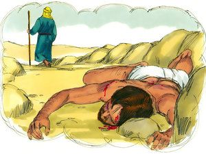 'A Levite arrived next, went over and looked at the man, and then walked on by on the other side. – Slide 8