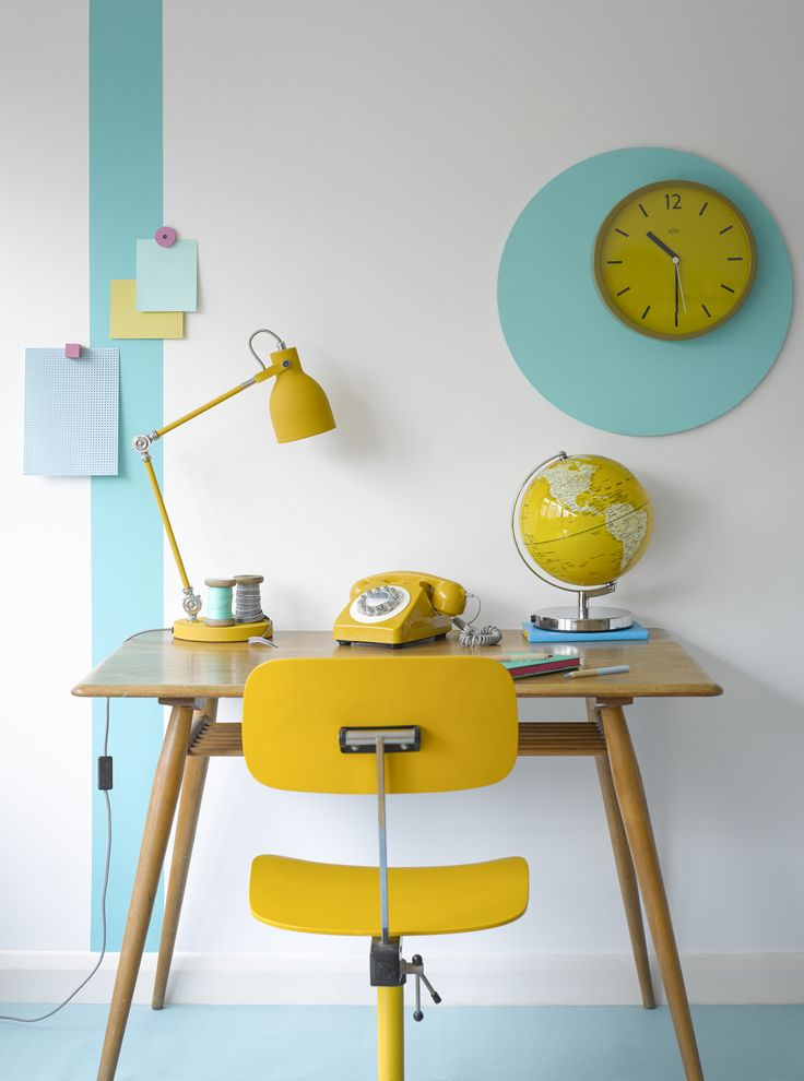 Hello, yellow! Task Lamp, 746 Phone, Globe Light and Wall Clock in English Mustard by Wild Wood