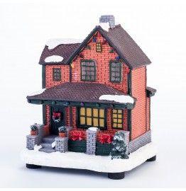 Huisje met luifel met LED verlichting H 15 cm