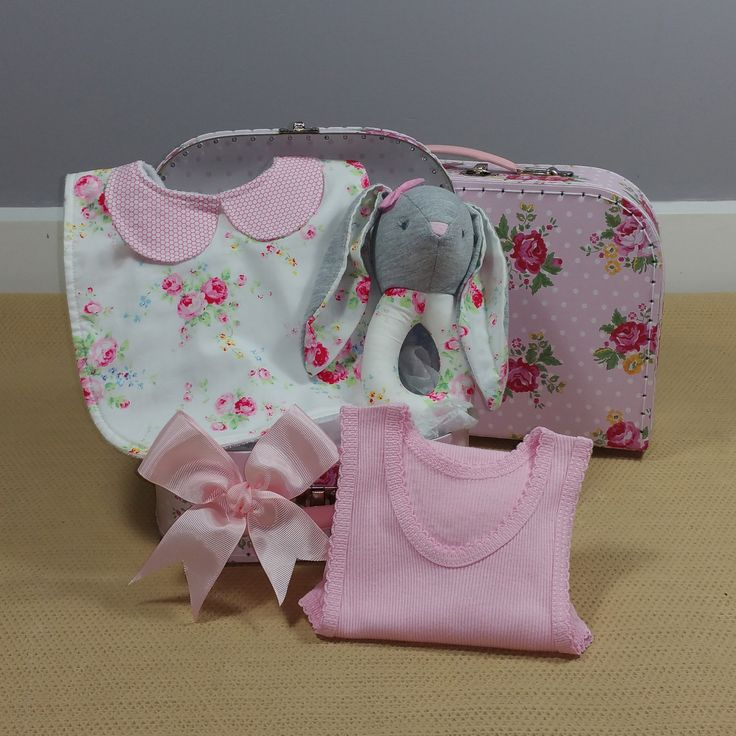 Gorgeous vintage rose and bunny rattle baby girl hamper. #vintagerose #vintagebabyhamper #babygirlgift