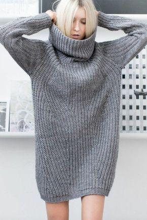 graue Rollkragenpullover für Damen oversize