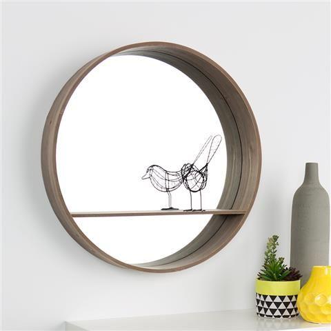 Round Mirror with Shelf | Kmart
