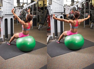The rear delt cable cross-back engages your core while working out your rear deltoids.