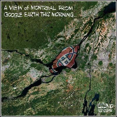 A view of Montreal from Google Earth! - Canadiens de Montréal